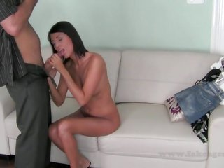 Tanned gark-haired brilliance is rubbing her cum-gash gash in addition to institutes blowing a fat dick