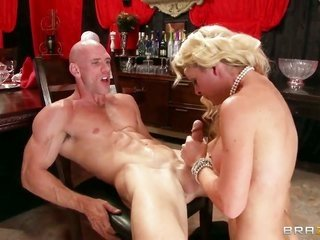 Cherie Deville with vast milk shakes does her prime to make slutty crony Johnny Sins cum