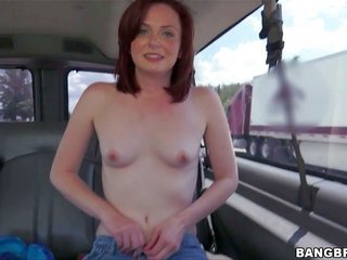 Emma Evins is a shy looking girl ensuingly door. This pale skinned buddy-buddy redhead finds herself in the backseat of our crash Bus going topless du