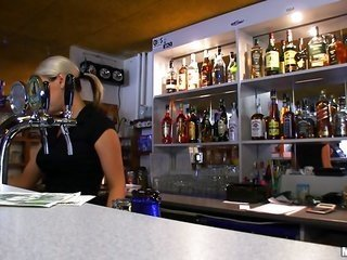 Lonely bartender got coins for the sake of beer with piercing her undersized twat