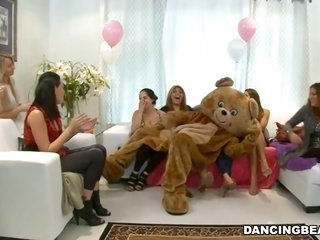 Sexually copulationually excited gentleman wearing a teddy bear clothes is getting fortunate in copulation
