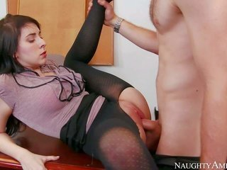 horney gark-haired Luna C. Kitsuen in ebon crotchless nylons is one to boot only on one to boot only with her co-worker Gavin in the conference room.
