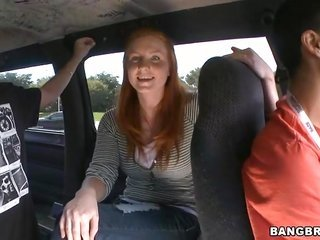 horny dudes are enforcing this pleasing stripped foxy haired maiden engulfing their dicks