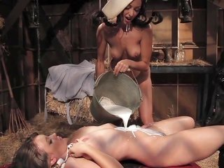 excellent hussy is sliding her lick on the juicy slithering pussy male