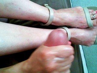 Tan sandal foot cum
