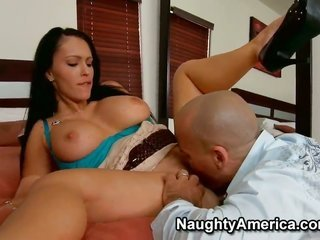 brunette hair with fleshy hooters Jenna Presley enjoys having Ben ENglish caning her snug straight girly guy