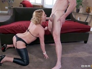 Johnny Sins makes his rock stiff staff come to naught in gorgeous Krissy Lynns before porch