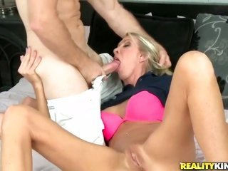 ight golden-haired catches her mouth attacked by bros throbbing worm