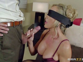 curvaceous undies-dressed milf Brandi fancy is blindfolded to make her other halfs sensuous dreams a reality. But its not his jock in her throat. that