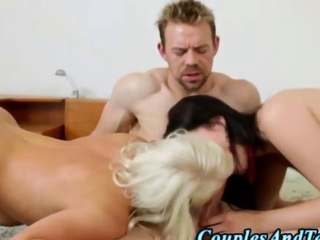 Threeway beaver oral sex along with a fuck