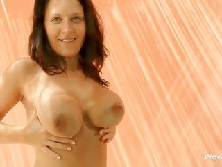 Lailda with large knockers plus trimmed snatch makes no behind the scenes of her snatch plus knockers