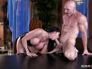Eva Karera with massive love muffins invokes Johnny Sins to stick his thick snake in her face hole