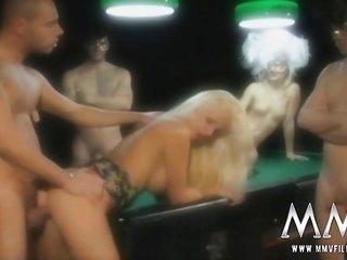 teasing blonde hotie Mya banged on the pool table