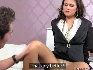 brownish hair girl agent bangs an avid porn star
