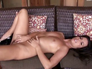 Fabulously wild porn diva Kobe Lee playing with herself on camera