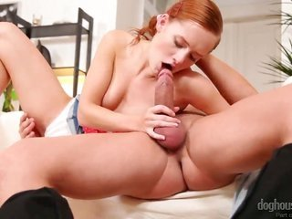 thrill titillating foxy redhead lusciuos female Denisa Heaven getting smashed by Steve Q