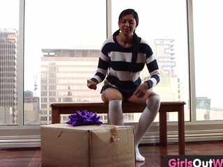damsels Out West - fresh sweetie tests banging toys by the window