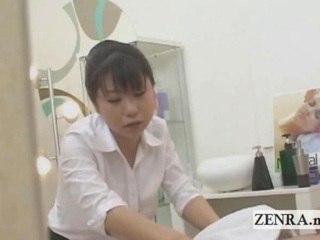 Subtitled CFNM oriental masseuse ends up giving cook jerking