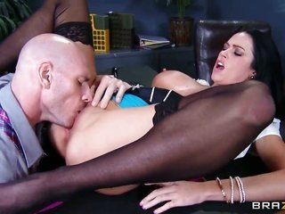 Aryana Augustine with gigantic knockers likewise Johnny Sins have a payment of rejoicing in this irrumation show