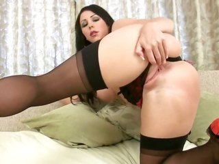 Nina Leigh with gigantic honkers along with smooth cooter dildoing her wet crack