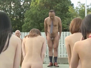 Subtitled uncensored outdoor nudist asian train