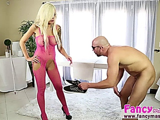 erotic fair-haired Nina Elle gives a surprise treatment to Will Powers