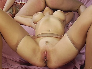 buxom ight golden-haired licks a males brown eye and deepthroats him