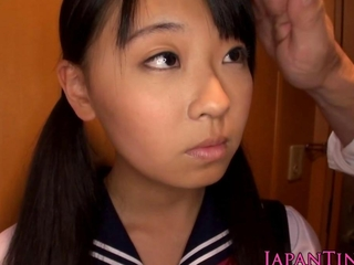 Schoolgirl Airi Sato team-fucked by cultured male