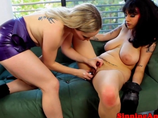 lesbo implements act in cool close up view