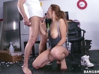 Marina Visconti with sensational sub takes chaps cum topped off boner in her cute cavity
